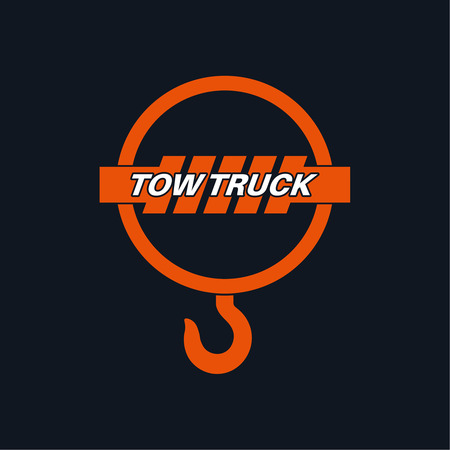 wrecker: Tow truck icon. Wrecker logotip. Towing hook. Round the clock evacuation of cars. Design can be used as a logo, a poster, advertising, singboard. Vector element of graphic design Illustration
