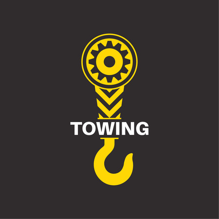 wrecker: Tow truck icon. Wrecker logotip. Towing hook. Round the clock evacuation of cars. Winch. Design can be used as a logo, a poster, advertising, singboard. Vector element of graphic design