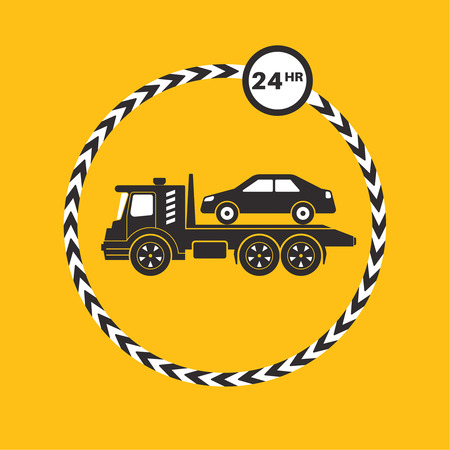 the wrecker: Tow truck icon on yellow background. Tow truck transports the car. Round the clock evacuation of cars. Design can be used as a logo, a poster, advertising, singboard. Vector element of graphic design Illustration
