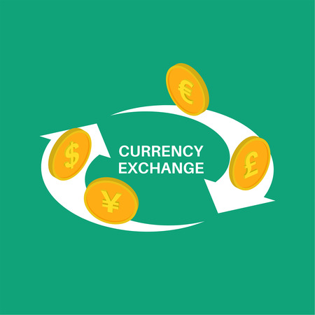 Vector illustration currency exchange. Coins dollar, euro, pound sterling, yuan in isometric style. Shooters of exchange.