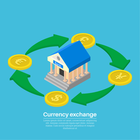 Vector illustration currency exchange. Coins dollar, euro, pound sterling, yuan in isometric style. Shooters of exchange. Transactions of a cash transfer. Bank cash perevody.3d style. Illustration