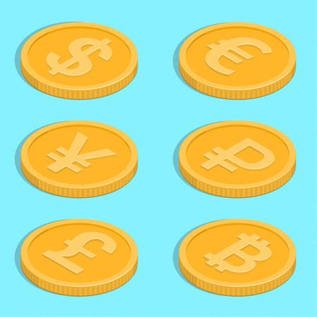 Set von Symbolen der Münzen. Banknoten-Dollar, Euro, Pfund Sterling, Yuan, Rubel, bitcoin. Symbole der Währungen in einer isometrischen 3D-Stil. Vektor-Illustration.