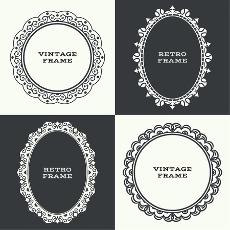 round: Circular baroque pattern. Round ornament. Vintage frame. Greeting card. Wedding invitation. Retro style. Vector logo template, labels and badges Illustration