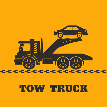 Tow truck icon yellow background. Hand holding the car. Round the clock evacuation of cars. Design can be used as a logo, a poster, advertising, singboard. Vector element of graphic design Illustration