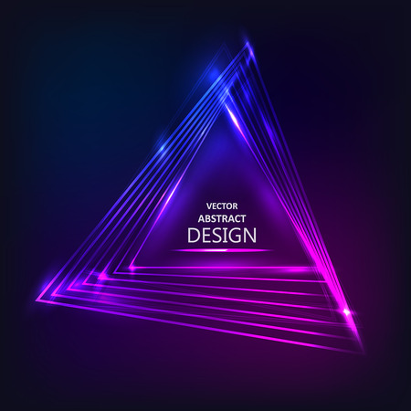 scintillating: The shining neon banner. Multi-colored bright scintillating triangles. Vector illustration. Abstract background. Design element. Illustration