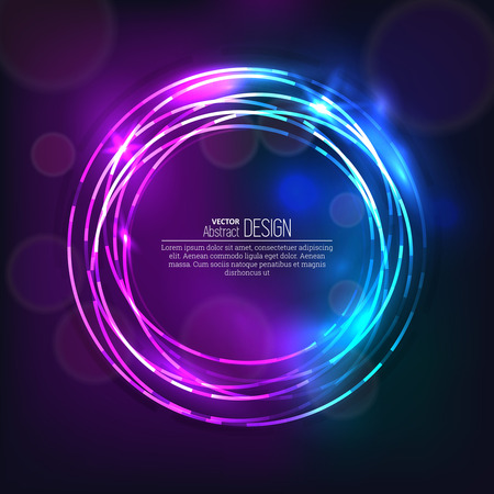 scintillating: The shining neon banner. Multi-colored bright rings. Chaotic scintillating circles. Design elements. Abstract background. Vector illustration.