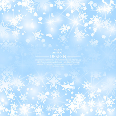 scintillating: Winter background with scintillating snowflakes. A snow blizzard and the flying confetti with bright indistinct patches of light. A vector festive illustration with the place for the text.