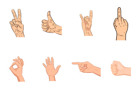 Set of realistic vector hands with various expressions. Victory sign. Peace hand gesture symbol icon. Thumbs up. Like. Dislike. Good. Ok. Rock n roll sign. Clenched fist. Ok. Pointing. Palm. Fuck. Illustration