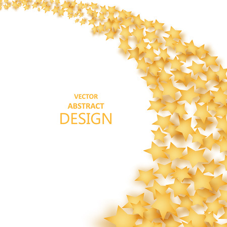 starfall: The falling stars with a shadow. Abstract background of a star wave. Incidentally falling gold tinsel. Paper brilliant, golden elements of design. A template for invitation cards, discount cards, celebrations. Vector illustration.