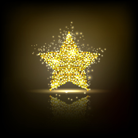 semitransparent: Stylized golden star with reflection. Design element with spangles and scattered particles on the dark background. Vector illustration. Illustration