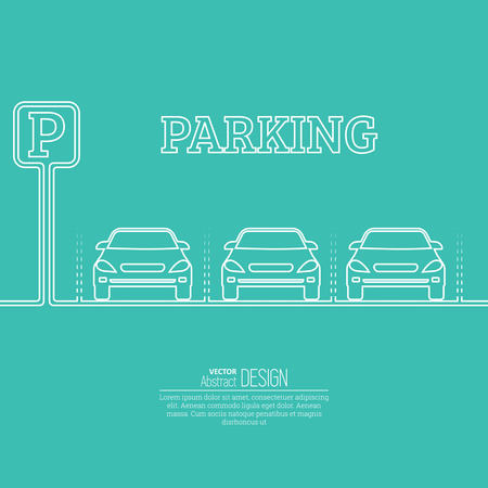 staying: Abstract background with cars and road sign. Parking zone. Vector element of graphical design. Flat style. Illustration