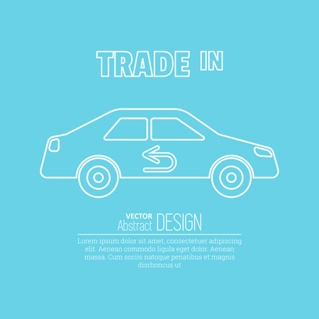 ?ar sketch with the return arrow in linear style on a blue background.  Trade in icon. Concept of an exchange of the car with surcharge.