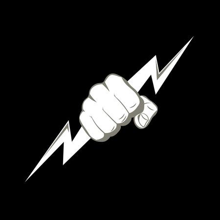 번개를 쥐고있는 주먹. 힘, 힘을 상징하는 벡터 일러스트 레이 션. 로고, 전력 회사를위한 사인, 싸우는 클럽. 디자인 요소입니다. 벡터 일러스트 레이 션.