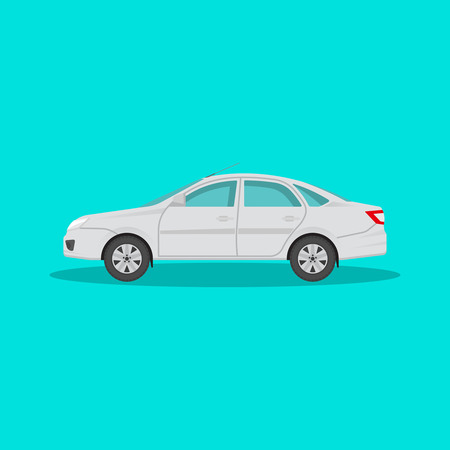 manage transportation: Icon of the passenger car with a shadow on the isolated green background. The vehicle in flat style. Design element. Vector illustration.