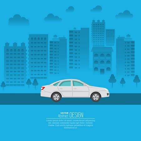 Das Personenkraftfahrzeug vor dem Hintergrund der Stadt. Das Fahrzeug fährt auf der Stadtautobahn. Eine Vektorillustration in der flachen Art mit dem Platz für den Text. Ist für die Werbung, das Plakat geeignet.
