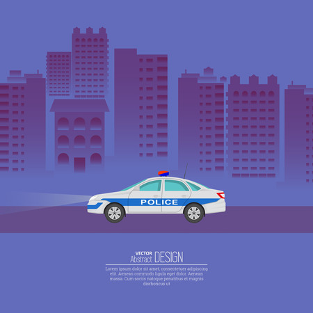 highway patrol: The police car against the background of the night city. The patrol vehicle on the city highway. Service 911. A vector illustration in flat style with the place for the text.