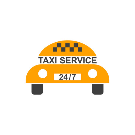 advertizing: Logo of customer service of a taxi in comical style. A flat badge in the form of the car with the information plate 247. A template of a vector illustration for a banner, stickers, advertizing.