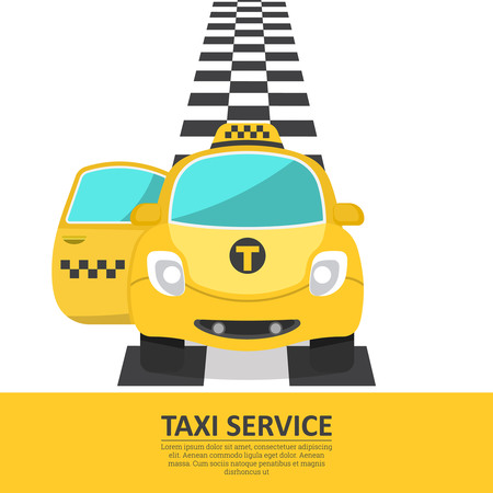 The cheerful car of a taxi with an open passenger door. The passenger vehicle on a chess path. A banner, a poster, design elements for the business card, advertizing. Vector illustration. Illustration