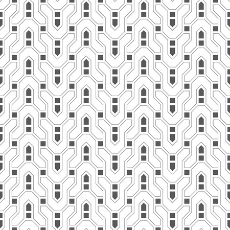 Infinitely repeating modern geometrical texture consisting of thin broken lines which form zigzag difficult curvilinear shapes, squares. Abstract linear textured background. Imagens - 75874155