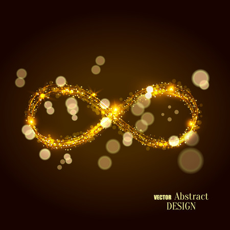 The shining infinity symbol. Abstract background of an infinity sign. Dynamic scintillating lines. Design element. Vector illustration. Illustration