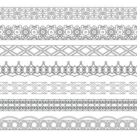Ensemble vectoriel de diviseurs monochromes. Frontières pour le texte, cartes d'invitation, diverses éditions d'impression. Des motifs horizontaux transparents. Eléments ethniques du design.