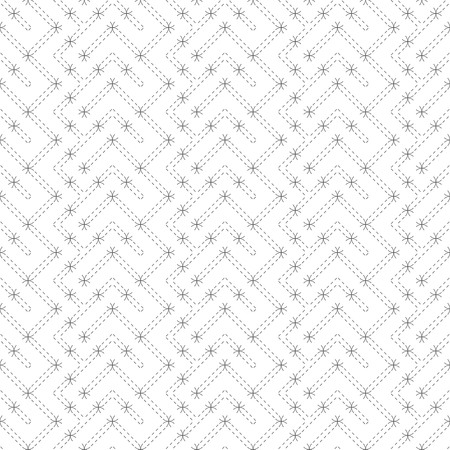 Vector seamless pattern. Infinitely repeating modern geometrical texture consisting of thin dashed lines and arcs which form tiled linear grid with zigzag shapes. Ilustrace