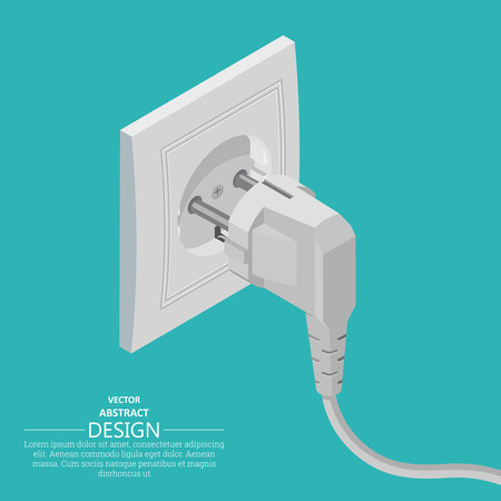 Electrical plug and socket. Contact of electric devices. A vector illustration in 3D style. Isometric projection. Design elements.