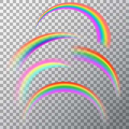 Set of realistic elements of a rainbow. A multi-colored arch on a translucent background. Vector illustration. Illustration