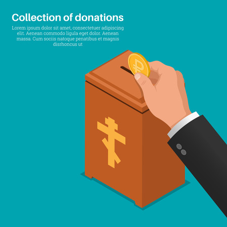 lowers: The hand lowers a coin in a box for donations. Concept of donation, monetary collecting, help to people. A donation on church. Human mercy. Vector illustration 3d style. Isometric projection. Flat design.
