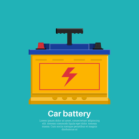 Automobile rechargeable battery. Accumulator icon. A vector illustration in flat style. Design element.