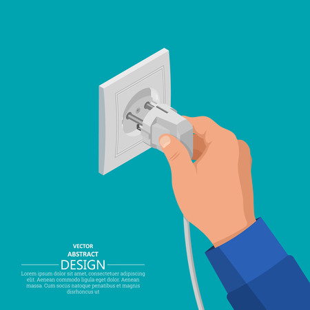 The hand includes an electrical plug in the socket. Contact electric devices.3d style. Isometric projection. Flat design. Vector illustration.