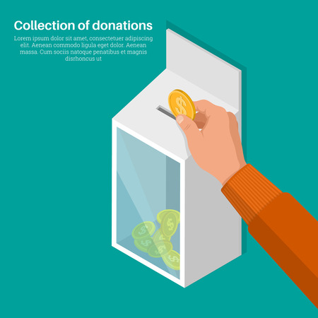 lowers: The hand lowers a coin in a box for donations. Concept of donation, monetary collecting, help to people. Human mercy. Vector illustration v3d style. Isometric projection. Flat design.