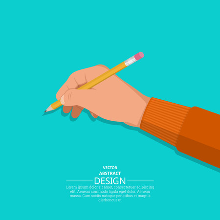The hand holds a pencil. A hand with an office subject in 3D style on the isolated green background. Vector illustration. Design element.