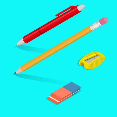 A set of office objects with shadows. A ball-point pen, a pencil, an eraser, a sharpener for pencils. Office supplies in 3D style. Isometry. Design elements. Vector illustration.