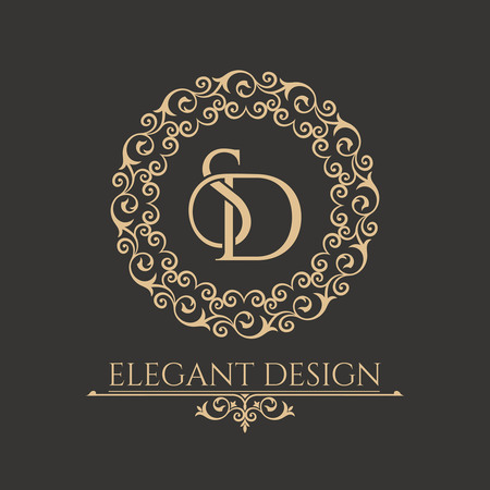 Monogram from intertwining letters SD in elegant flower frame. Baroque style. Place for the text. Golden template for cafe, bars, boutiques, invitations. Logo for business. Vintage vector elements of design. 일러스트