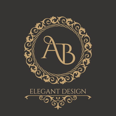 Monogram from intertwining letters AB in elegant flower frame. Baroque style. Place for text. Golden template for cafe, bars, boutiques, invitations. Logo for business. Vintage elements of design. Vector