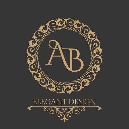 Monogramma dall'intreccio di lettere AB in elegante cornice floreale. Stile barocco Posto per il testo Modello dorato per caffè, bar, boutique, inviti. Logo per affari. Elementi vintage del design. Vettore
