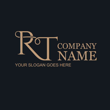 Rt.Monogramm's initials of gold letters against a dark background. Logo of the company. A template for business. Vector illustration.