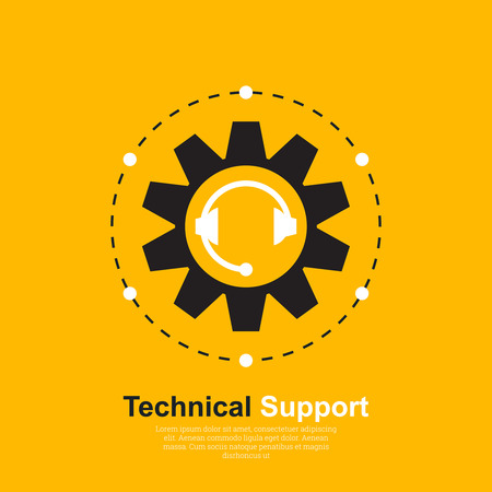 Vector illustration with the concept of technical support. The place for the text. Symbol of a logo of support service. Flat design. Call centr