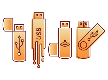 rom: Set of icons USB.Flesh store. A vector illustration in flat linear style. Modern computer technologies.