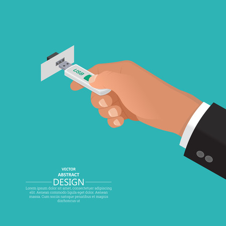 The hand holds USB flash memory. Contact USB and connector.3D style. A vector illustration in an isometric projection. Flat design. Modern computer technologies.