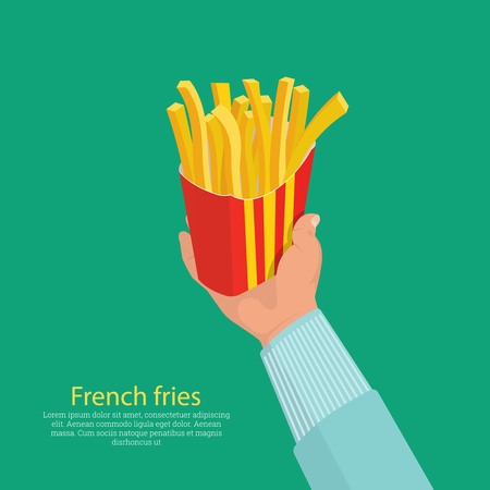 The hand holding a box about French fries.Concept of a fast food.Isometry.Business lunch.3D vector illustration.Design elements in flat style.