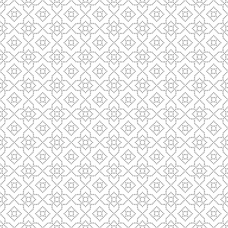 Seamless pattern. Modern stylish small dotted texture. Regularly repeating geometric tiles with dotted rhombuses, diamonds, crosses. Vector abstract background Illustration