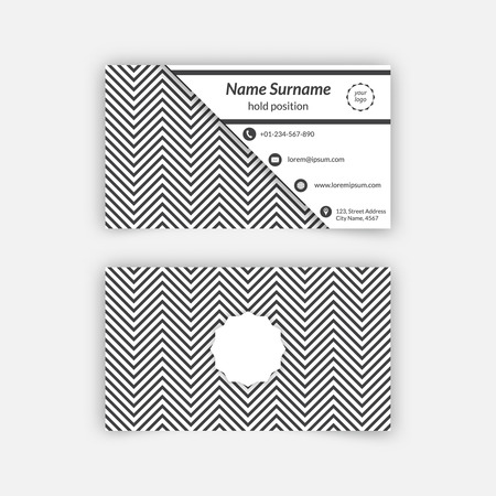 advertising material: Business card blank template with textured background from zigzag strips. Minimal elegant vector design