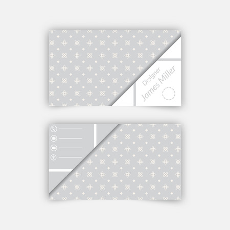 advertising material: Business card blank template with textured background from stars, rhombuses and triangle shape. Minimal elegant vector design