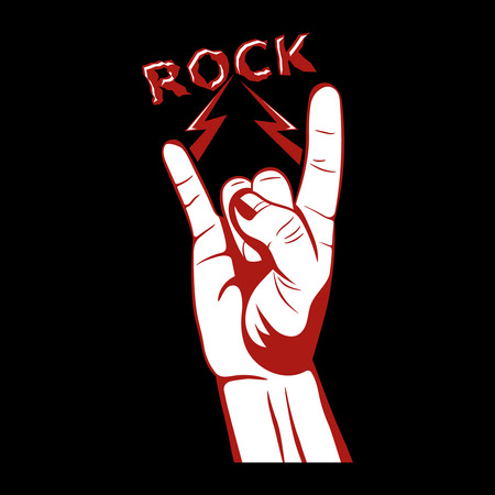 logo music: Gesture of a hand with lightnings.Sign rocknroll.Symbol we together.The press on clothes.Design element for a poster, emblems.Vector illustration on a black background. Illustration
