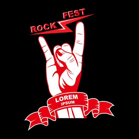 logo music: Gesture of a hand with lightnings a rock festival.Sign of rockers.Unity symbol with a banner.Template for a poster, emblems.The press on clothes.Vector illustration. Illustration