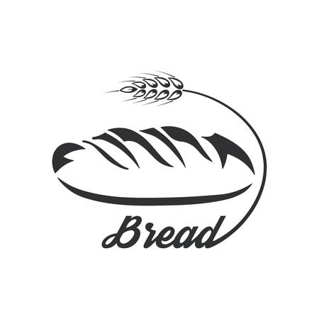 Icon bread.Monochrome logo.Fresh product. A vector illustration in flat style. 矢量图像