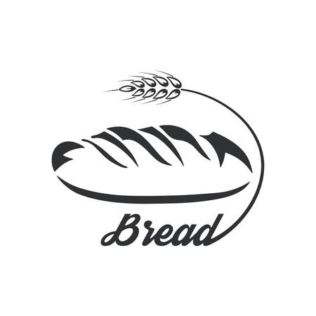 Ikona chleb. Monochromatyczne logo. Świeży produkt. Ilustracja wektorowa w stylu płaski.