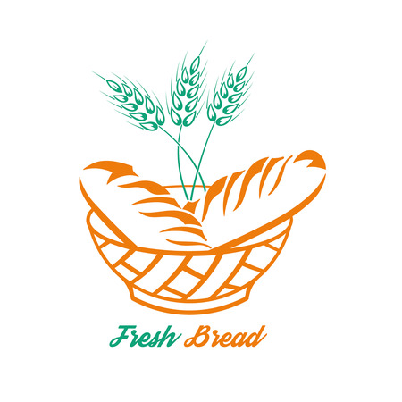 Bread in a bowl and a grain cereal.Concept fresh product.Logo. A vector illustration for a sign, labels, emblems.